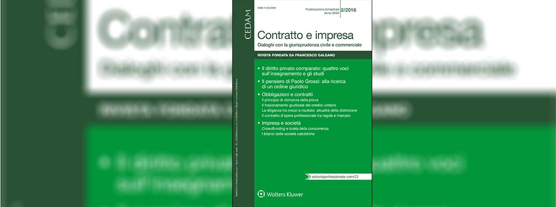 Annuario diritto comparato Contratto impresa febbraio 2016