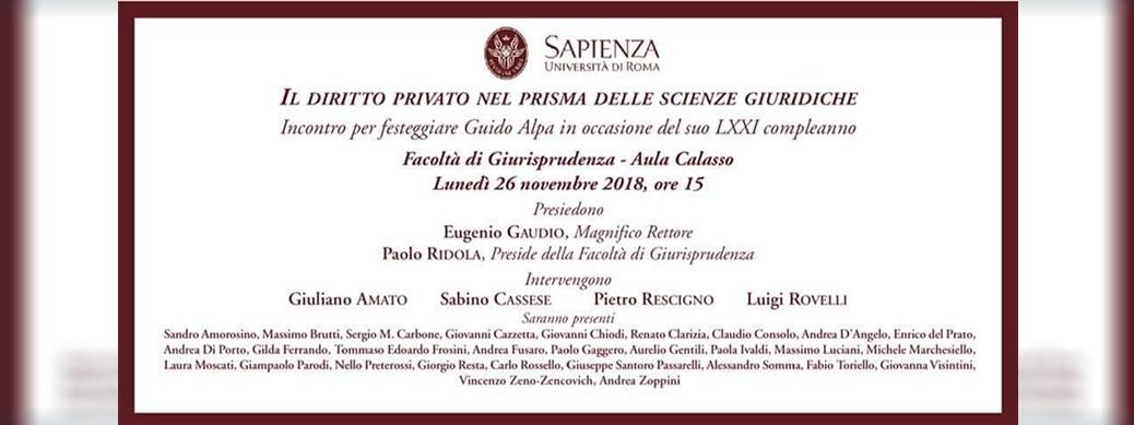 Incontro per festeggiare Guido Alpa in occasione del suo LXXI compleanno