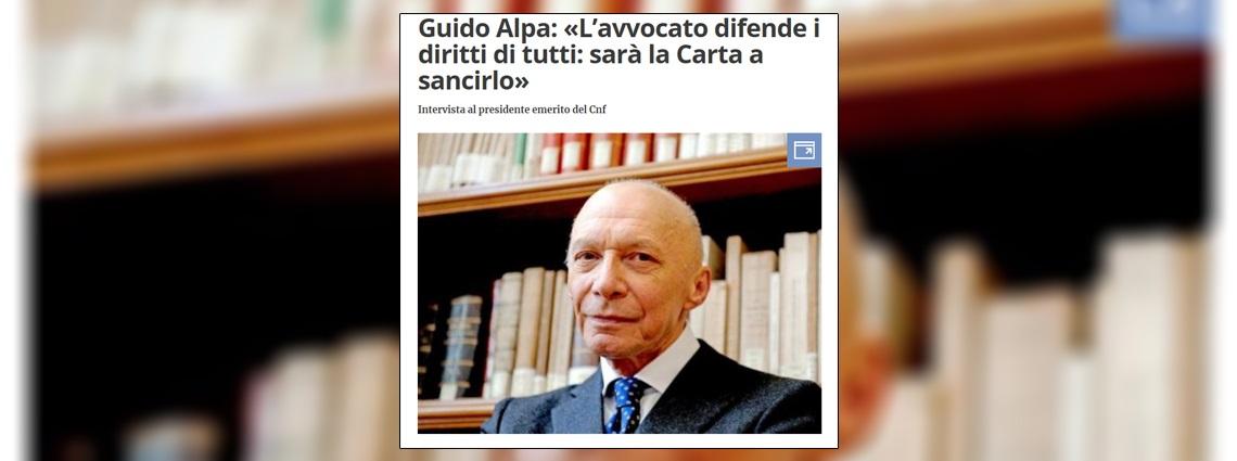 Guido Alpa: «L'avvocato difende i diritti di tutti: sarà la Carta a sancirlo»